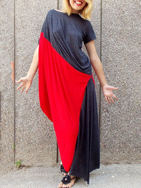 Red Cotton-blend Crew Neck Statement Asymmetric Maxi Dress