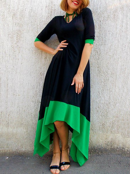 Casual V Neck High Low Half Sleeve Color-block Maxi Dress