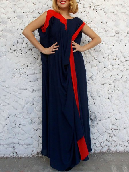 Navy Blue Sleeveless Crew Neck Viscose Plain Maxi Dress