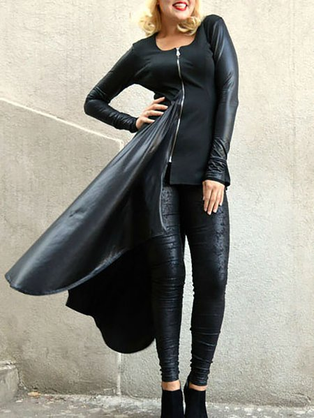 Black Plain Crew Neck Long Sleeve Tunic