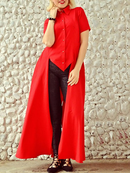 Red Short Sleeve Plain Tunic