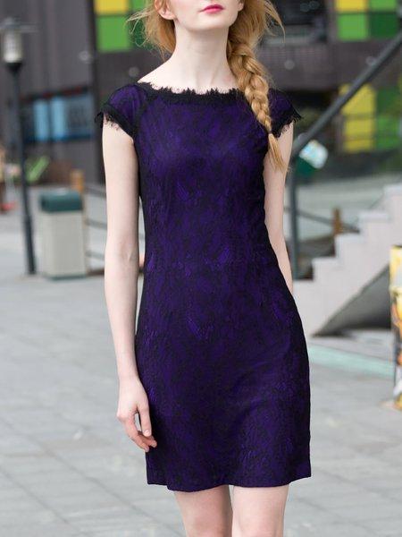 Purple Crew Neck Floral Elegant Mini Dress