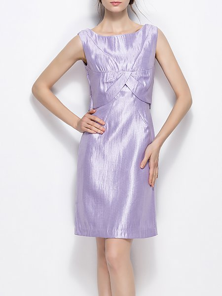 Purple Sleeveless Cotton Evening Dress