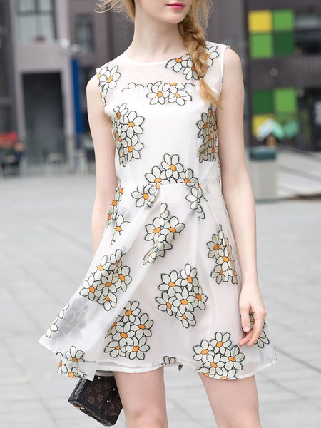 Sweet Floral-print Sleeveless Polyester Crew Neck Mini Dress