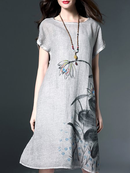 Printed Cotton-linen Midi Dress