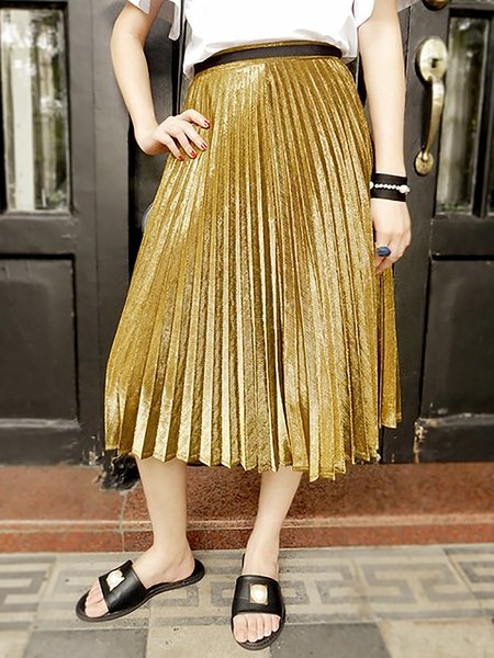 Golden Pleated Sweet Plain Midi Skirt
