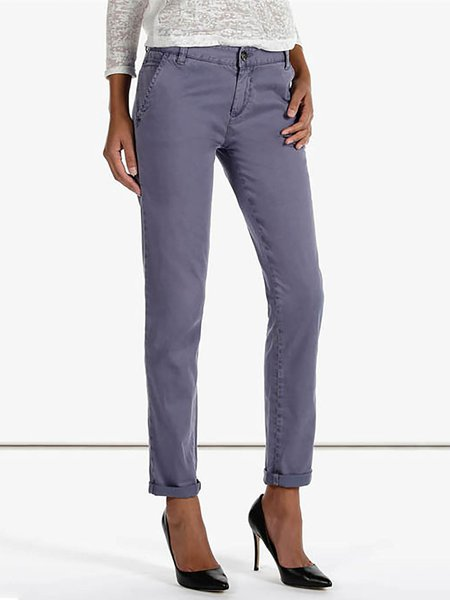 Purple Pockets Plain Cotton Work Jeans