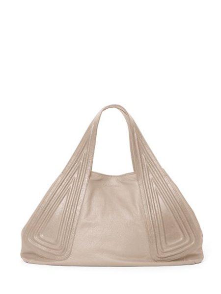 Cream Zipper Calfskin Leather Satchel