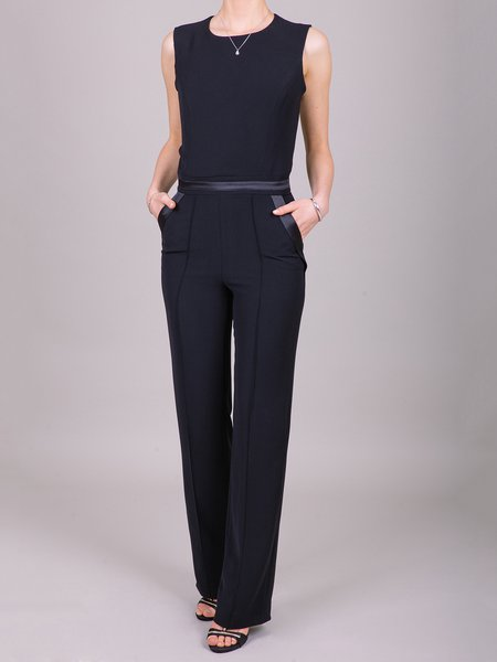Black Sleeveless Crew Neck Cutout Plain Jumpsuit