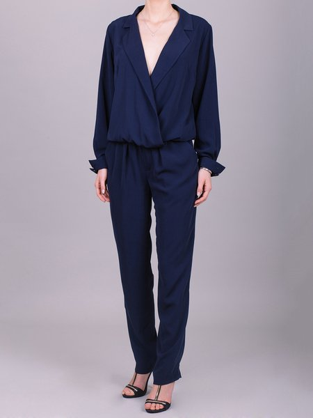 Navy Blue Plain Folds Long Sleeve Jumpsuit
