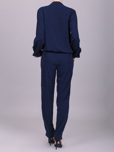 Navy Blue Long Sleeve Jumpsuit