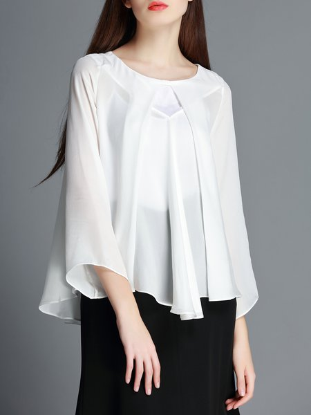 White Plain Work Silk Long Sleeved Top