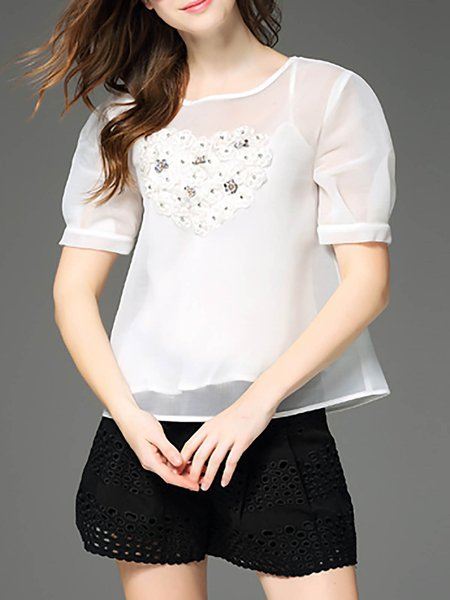 White Beaded Half Sleeve Polyester Two Piece Blouse