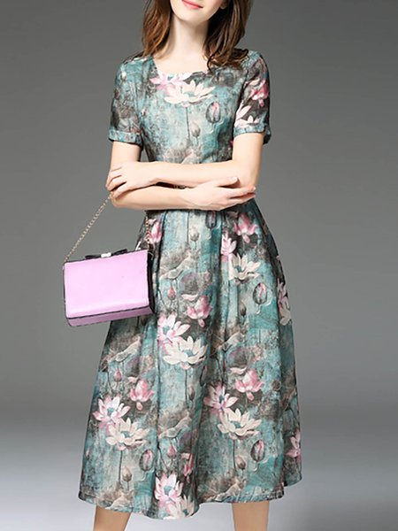 Multicolor Floral Printed Vintage Midi Dress With Belt