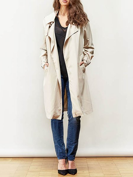 Beige Viscose Long Sleeve Trench Coat