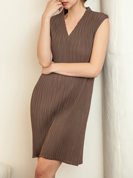 Coffee H-line Ribbed V Neck Sleeveless Midi Dress