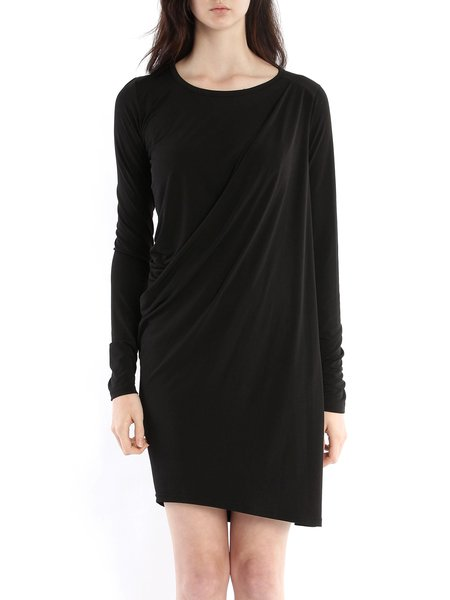 Crew Neck Casual Long Sleeve Draped Mini Dress