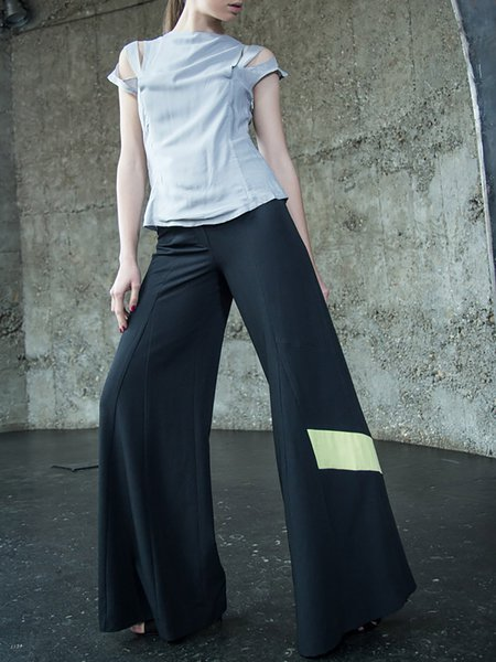 Black Georgette Sleeveless Plain Wide Leg Pant
