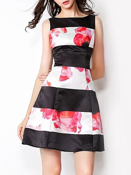 Casual A-line Sleeveless Floral Mini Dress