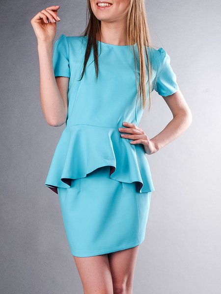 Sky Blue Crew Neck Two Piece Short Sleeve Mini Dress