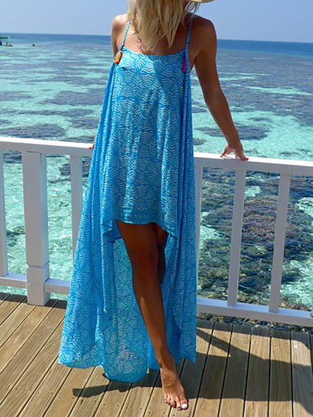 Sky Blue Boho Abstract High Low Rayon Midi Dress