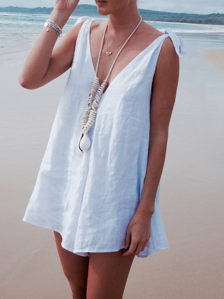 White Bow Sleeveless Romper