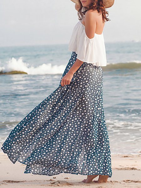 Navy Blue Printed Polka Dots Beach Rayon Maxi Skirt