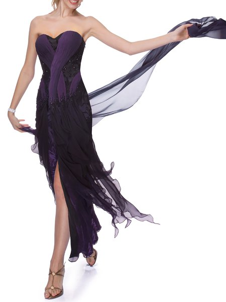 Purple Evening Sweetheart Maxi Dress