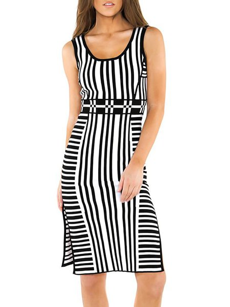 Sheath Stripes Sleeveless Casual Slit Midi Dress