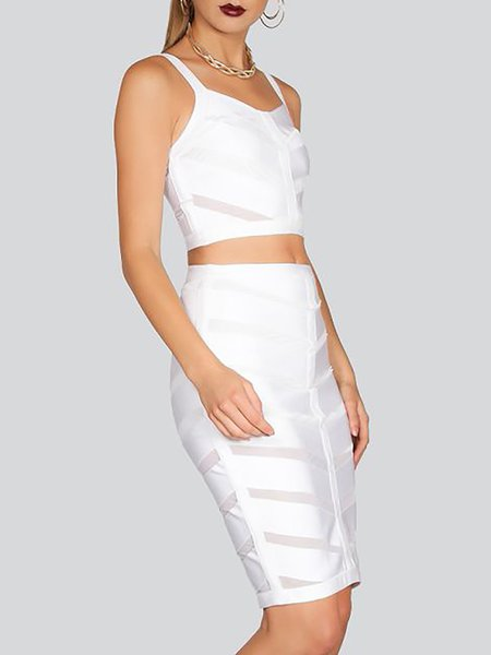 White Two Piece Spaghetti Plain Midi Dress