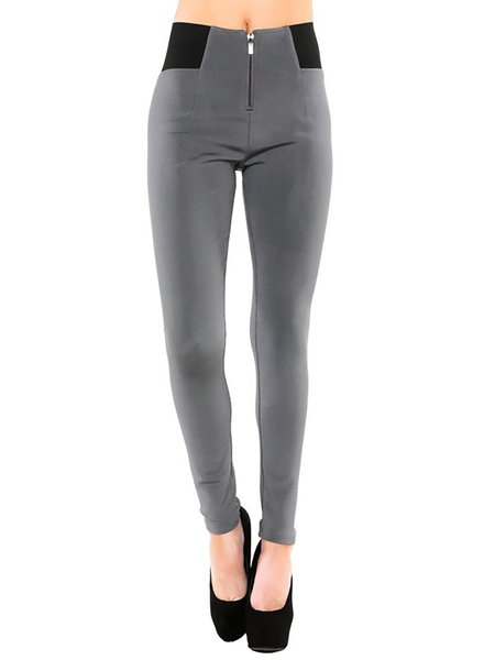Gray Zipper Casual Skinny Leg Pants