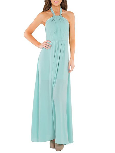 A-line Polyester Sleeveless Evening Maxi Dress