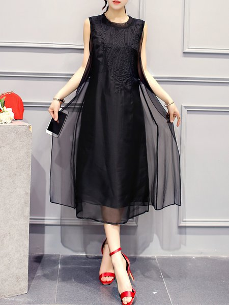 Black Casual Shift Midi Dress