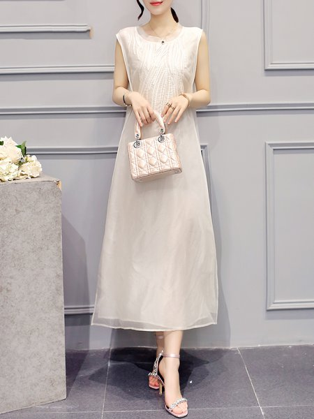 White Shift Crew Neck Sleeveless Midi Dress