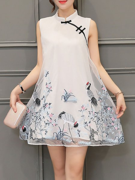 Organza Vintage A-line Stand Collar Sleeveless Mini Dress