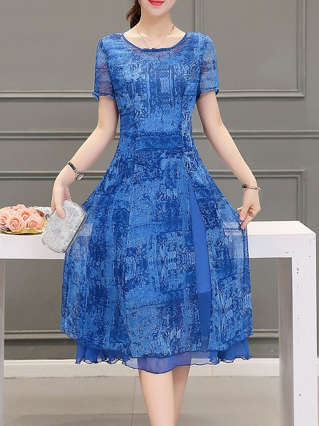 Blue A-line Short Sleeve Crew Neck Chiffon Midi Dress