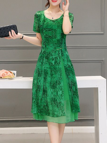 Green A-line Casual Midi Dress
