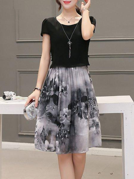 Black Short Sleeve Floral Crew Neck Midi Dress
