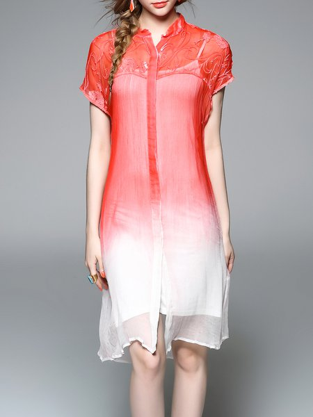 Short Sleeve Silk Casual Shirt Dress