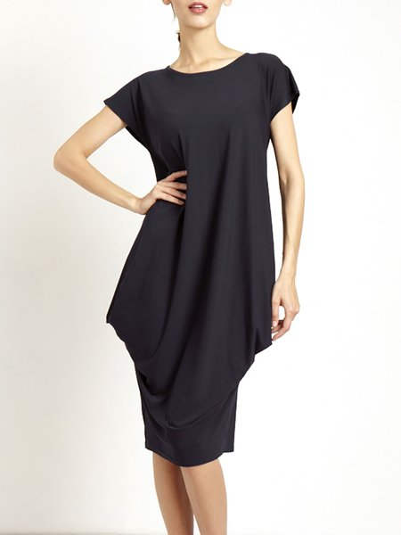 Casual Cotton-blend Short Sleeve Gathered Midi Dress