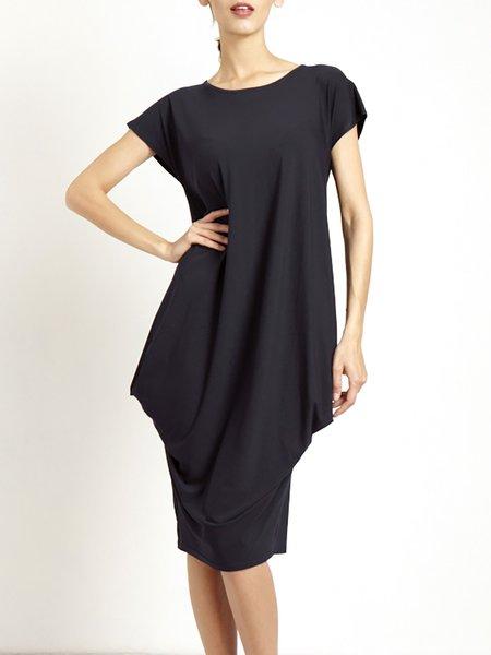 Casual Cotton-blend Short Sleeve Gathered Midi Dress