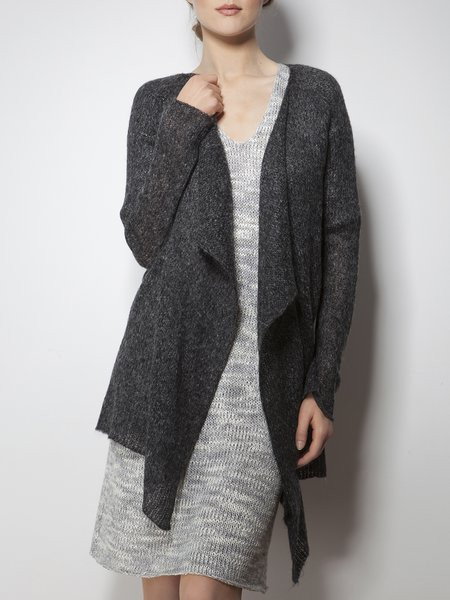 Viscose Long Sleeve Asymmetrical Plain Casual Cardigan