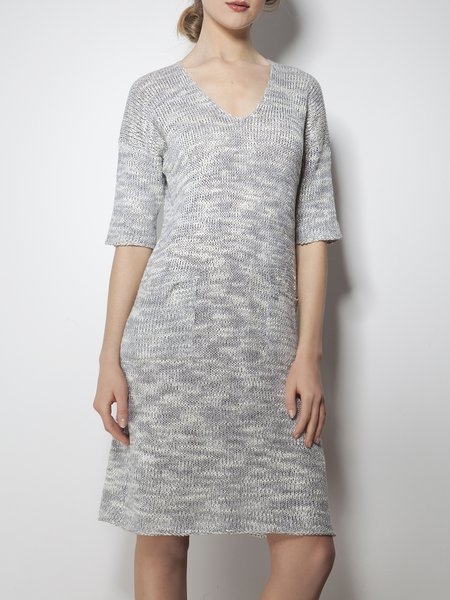 Knitted Casual V Neck Half Sleeve H-line Sweater Dress