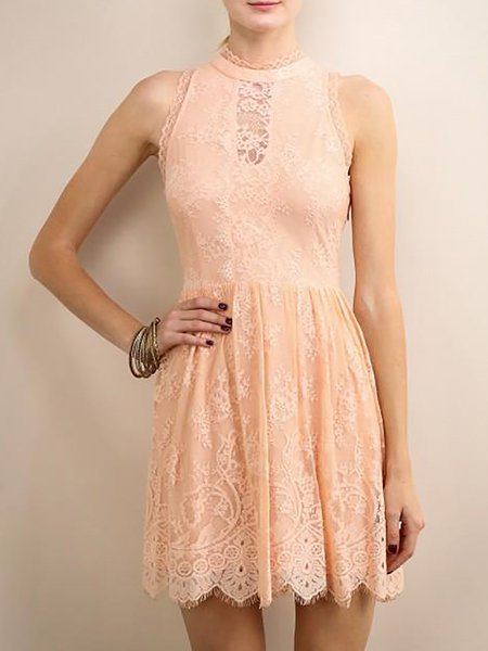 Nude Sleeveless Floral Lace Hand Made Mini Dress