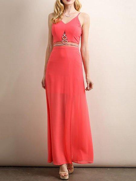 Red Evening A-line Maxi Dress