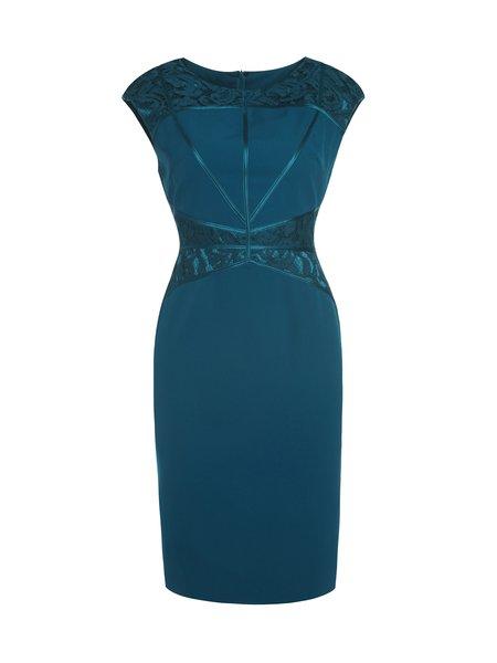 Aqua Blue Short Sleeve Crew Neck Lace Midi Dress