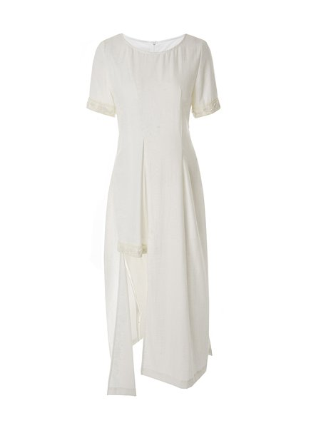 White Silk-blend Paneled Casual Midi Dress