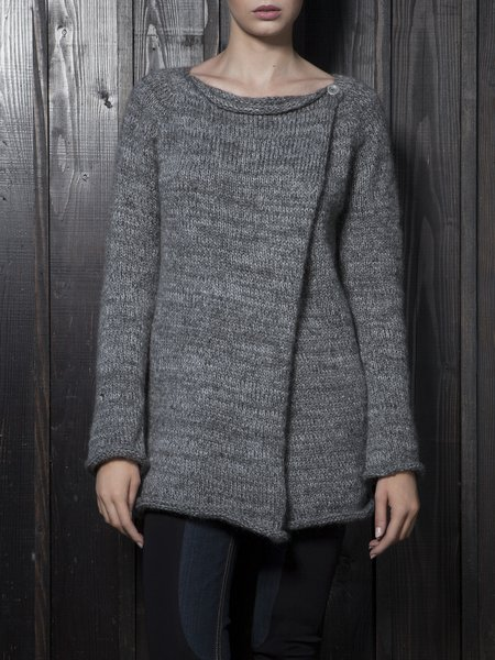 Deep Gray Buttoned Long Sleeve Cardigan