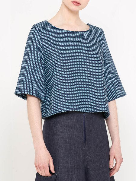 Blue Casual H-line Cropped Top