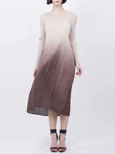 Brown Gradation Pleated Midi Dress
